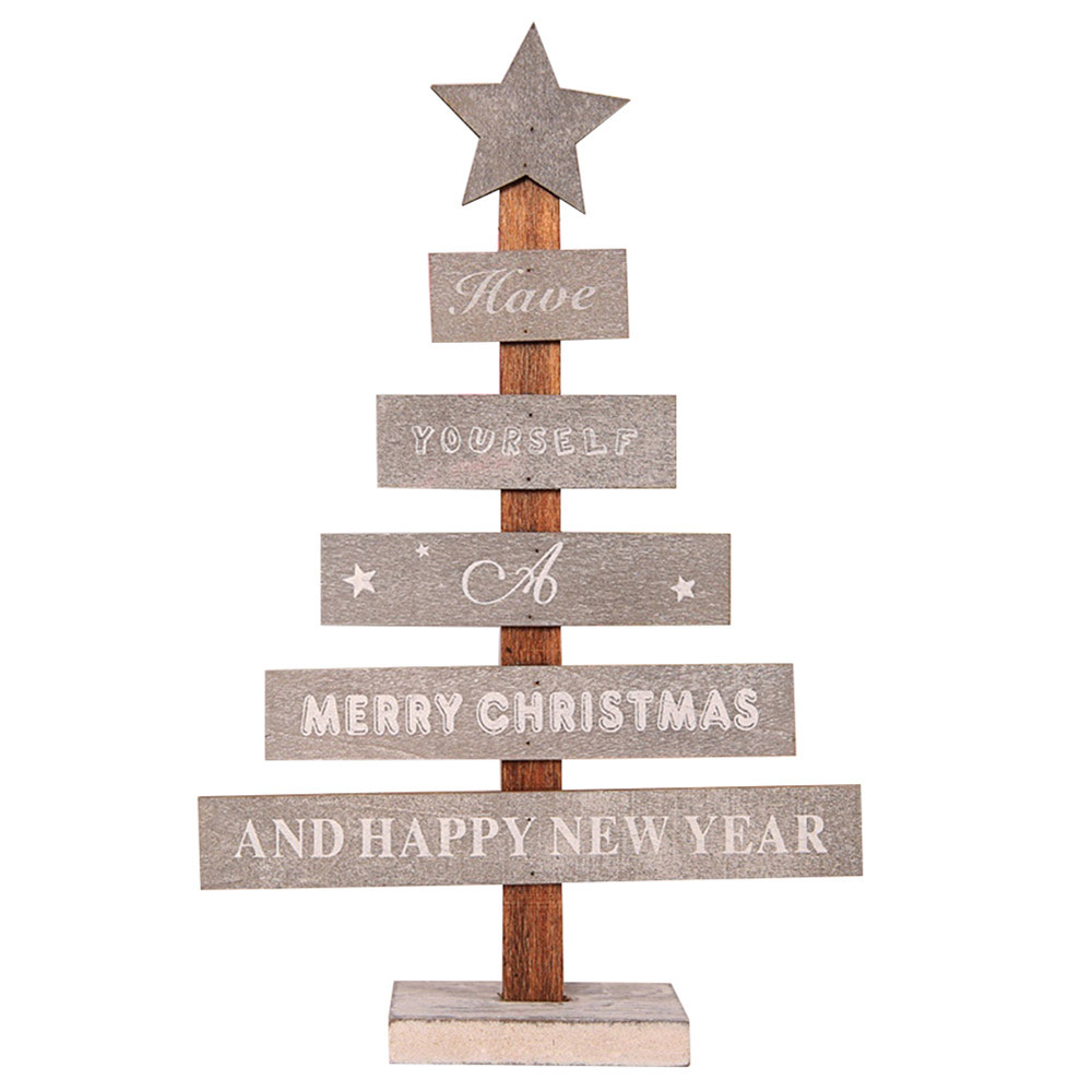Mini Wooden Merry Christmas Tree Desk Table Decor Pendants Xmas Tree Ornaments Home Decoration Accessories Navidad 2018 Kerst Y18102609