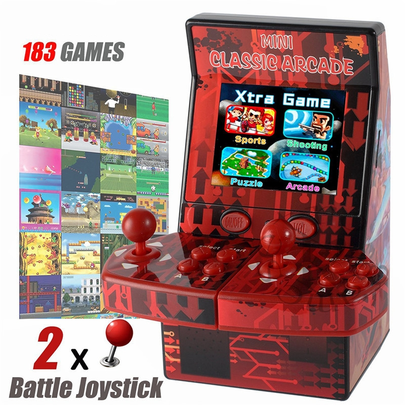 2018 Yeni 183 in 1 Mini Çift El Oyun Konsolu Retro Tarzı Oyunları oyuncu 2.8 inç Mini Klasik Arcade Makinesi Desteği TF Kart ile kutu