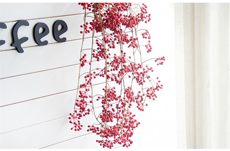 Flone Artificial Flower Branch Fake Red Bean Fruit Vine Simulation Plant Flowers Rattan Wedding Home Party Decoration Floral (13)