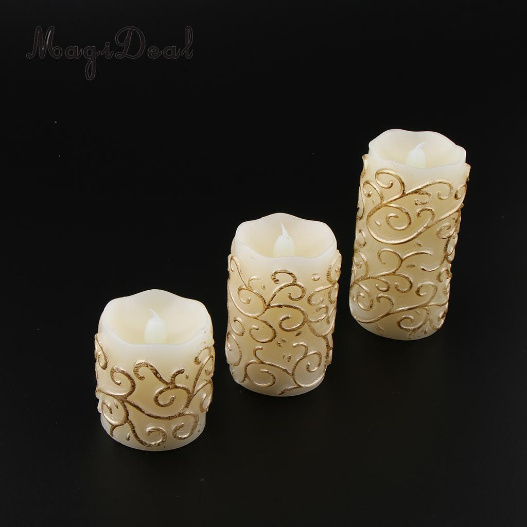 3pcs Flameless Candle Tea Lights Battery Flickering Candle Carving Patterns
