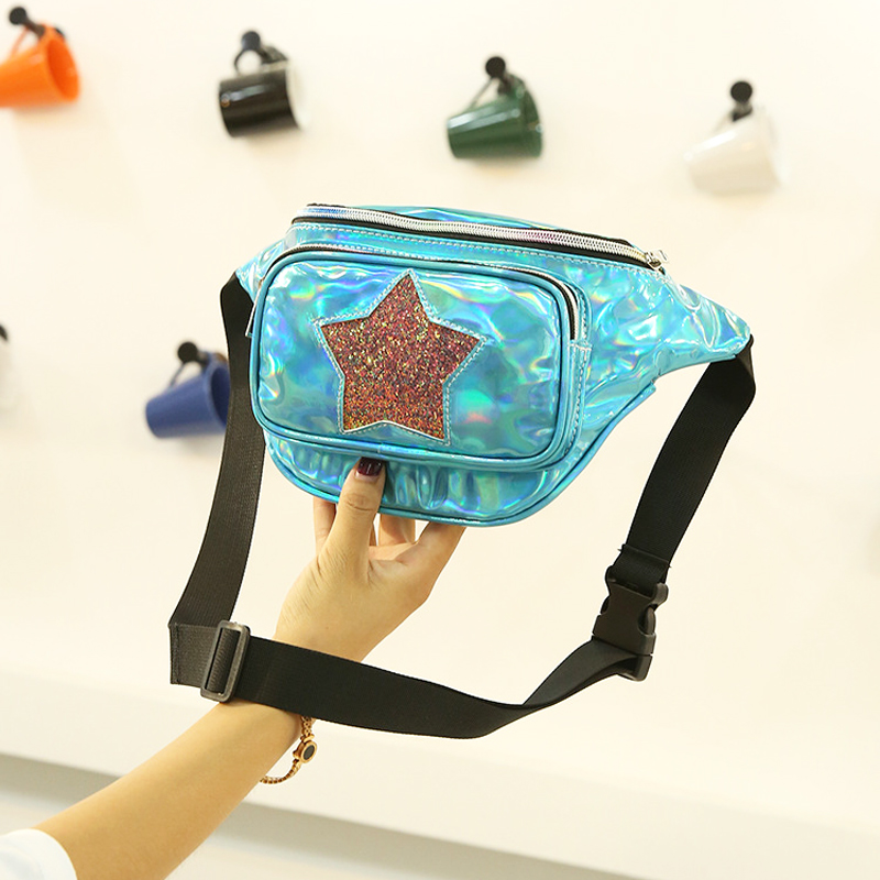 vendita all'ingrosso Moda Donna Laser Marsupio Creativo Lady Crossbody Chest Bag Star Paillettes femminile Waist Pack Holographic Fanny Pack