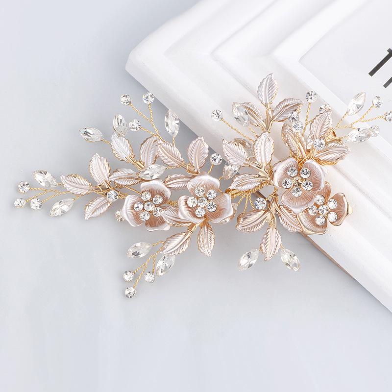 Pettine per capelli fatto a mano con strass dorati a forma di fiore per sposa copricapo da regina damigella donore accessori per capelli da donna