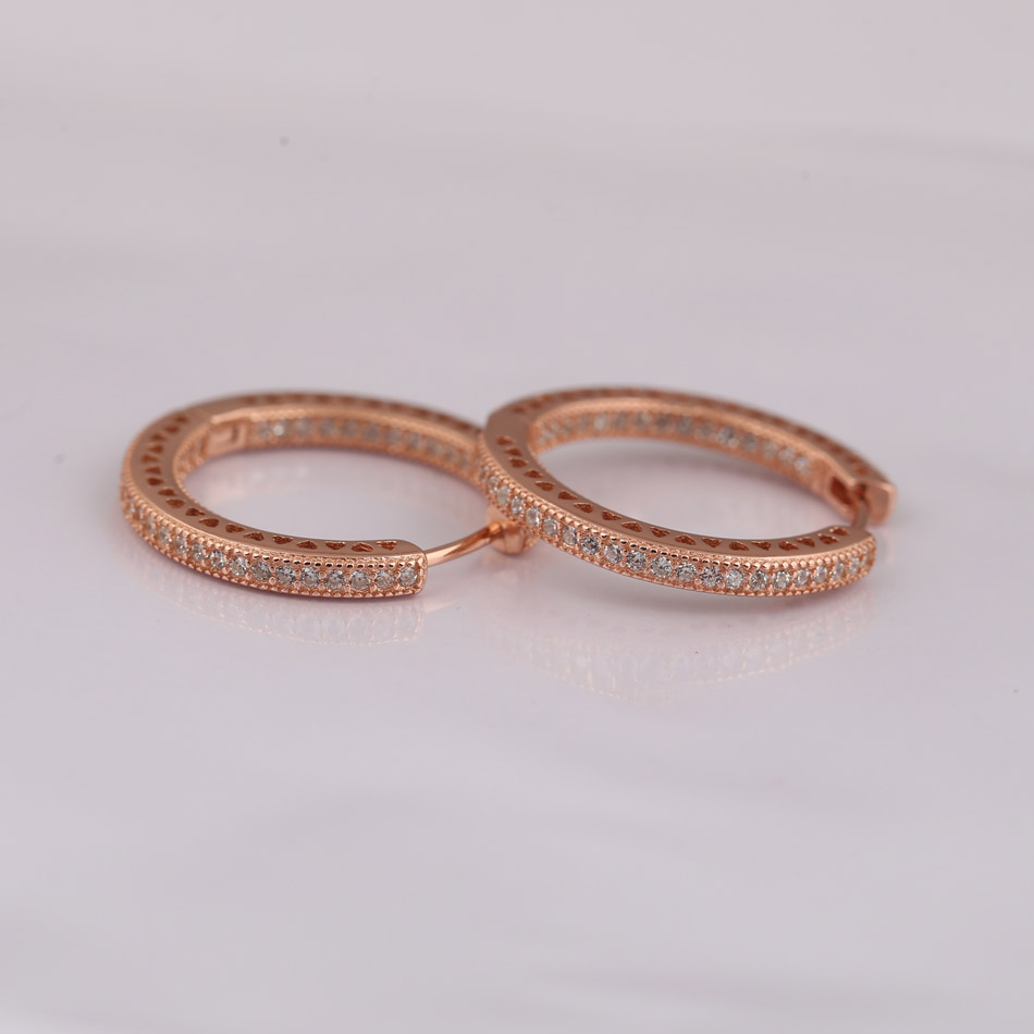 925 Pendientes de plata para mujeres Corazones rosas Pendientes de aro Pave Clear CZ con Crystal Rose Oro Color de ajuste del regalo Lady Jewelry