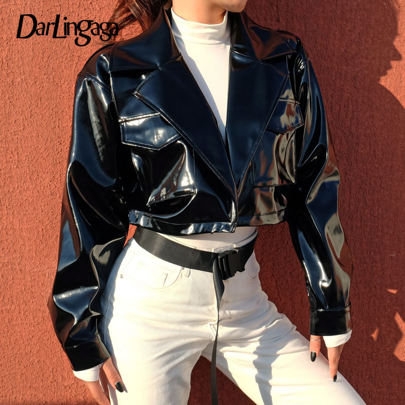 NUOVA DONNA DONNE VINTAGE Crop Stile Biker in Pelle PU Zip Laterale Colletto Giacca Top