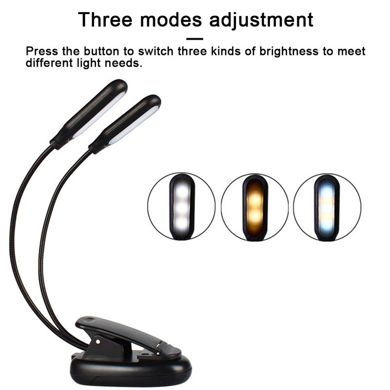 2 Heads 10 LED Bulbs Light Flexible Arms LED Table Lamp Clip On Bed Table Desk Lamp Book Reading Lamp Battery Operated