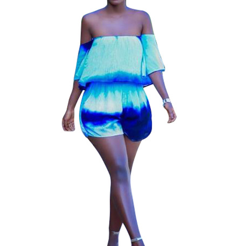 Tie Dye Sexy Pagliaccetti Womens Tuta Shorts Off the Shoulder Body Lady Flare Sleeve Ruffle Short Playsuit Combinaison Femme