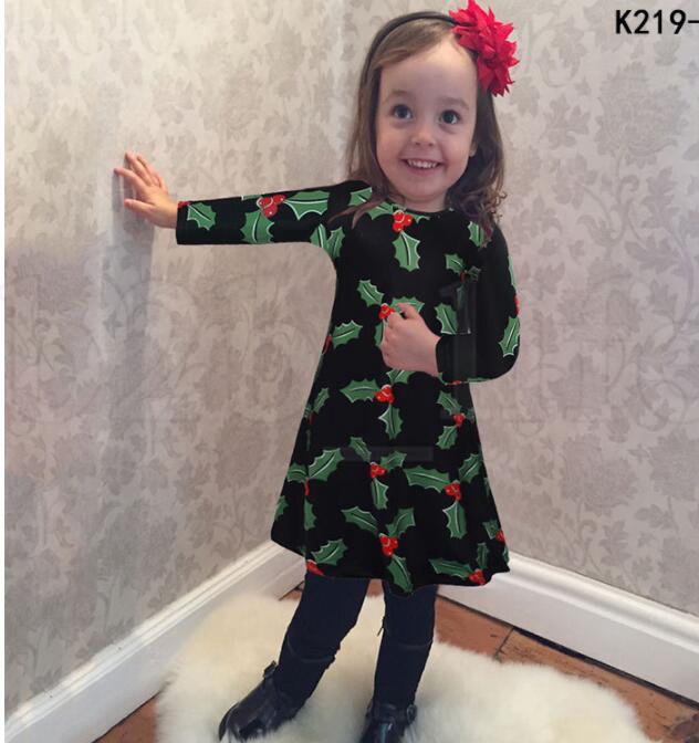 Children Kids Girls Long Sleeve dress Xmas Snowman Christmas Print Swing Dress Dot Tree Print Dress Clothes KKA5972