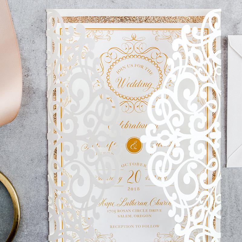 50 Kiti Tasarım Fower Çiçek Dantel ile Düğün davetiyeleri zarf Boş Baskı İçindeki Kartları Convites Tebrik Birhtday Özelleştirir