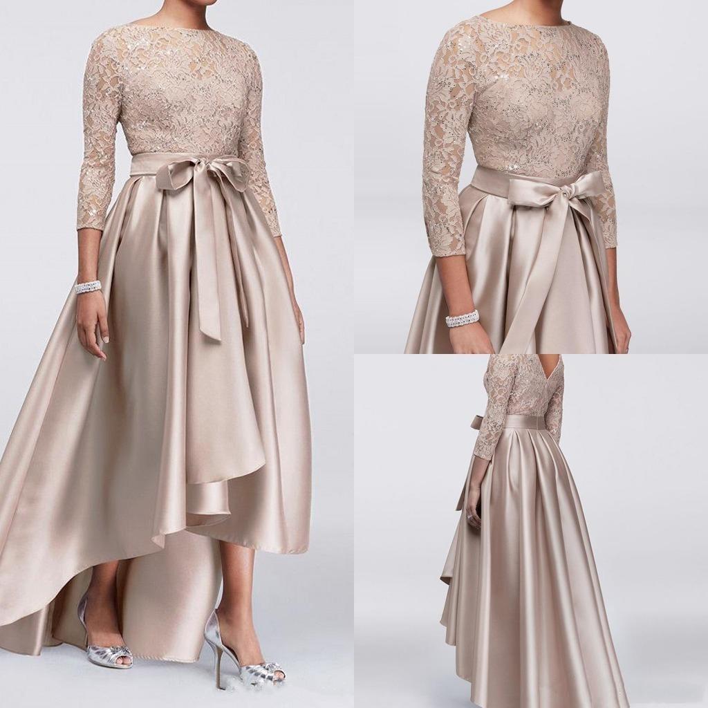 new chic champagne a-linie high low mutter der braut kleider pailletten  lace top long sleeves kleider abendgarderobe günstige hochzeitsgast kleid