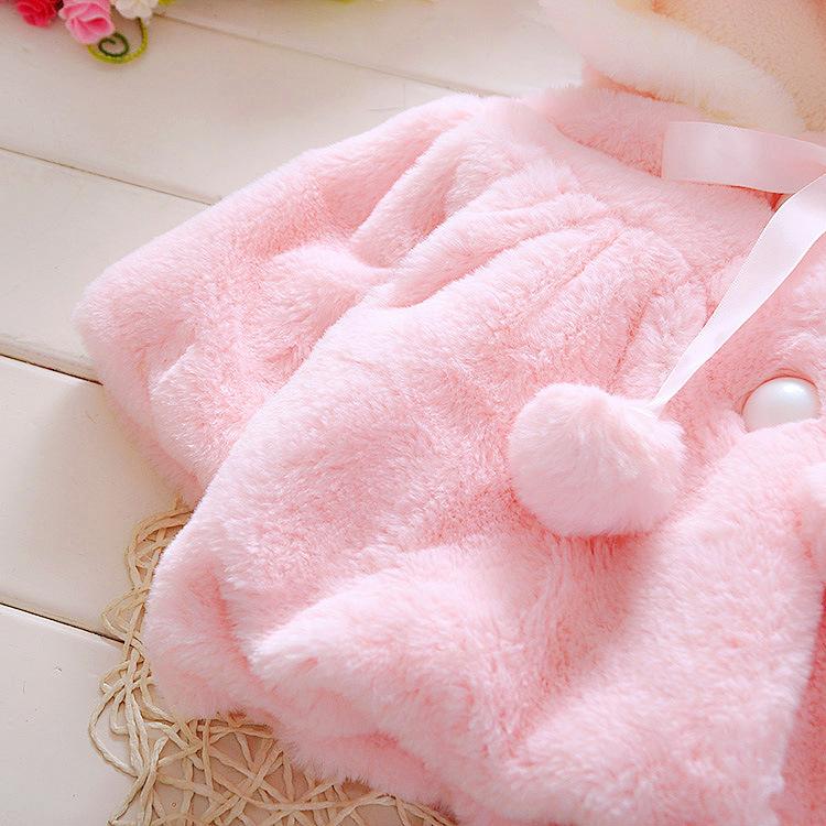 Bebê Infantil Meninas De Pele De Inverno Casaco Quente Manto Casaco Grosso Roupas Quentes Do Bebê Menina Bonito Casaco Com Capuz de Manga Longa