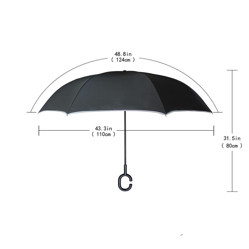 3D Flower Reverse Umbrella Double Layer Pongee Fabric Adults Umbrellas C-Hook Handle Car Umbrella Windproof Waterproof Useful