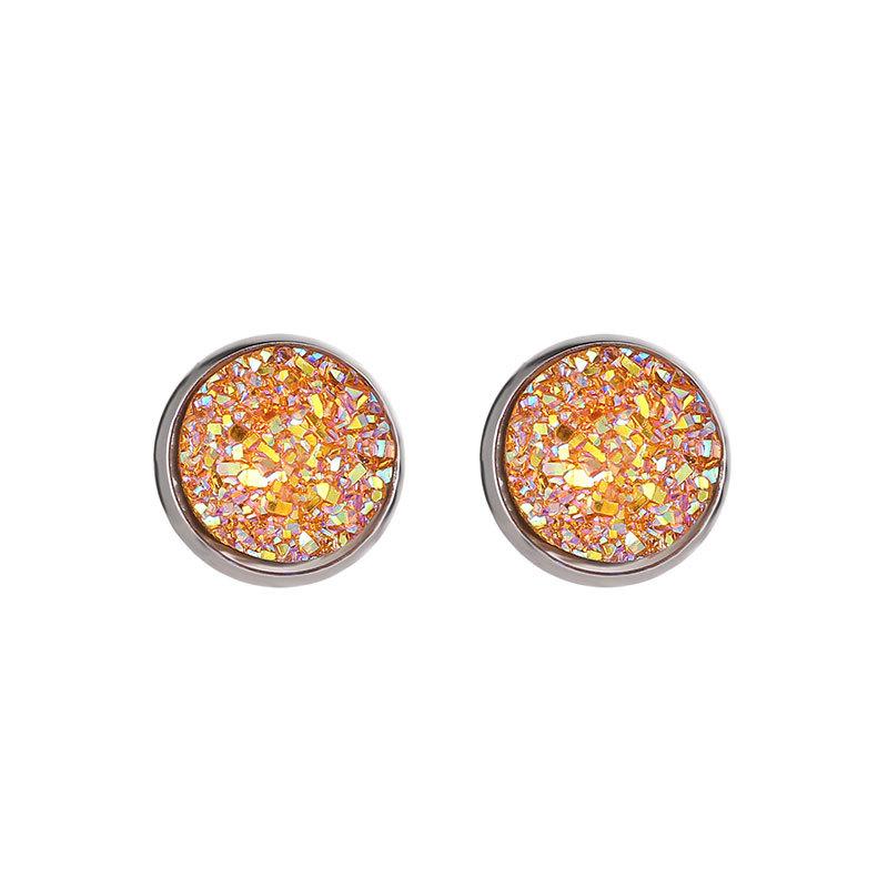 Boucles d \ 'oreilles druzy rondes à la main en résine à la mode simple en acier inoxydable ton Sholesaling résine pierre boucle d'oreille pour Lady cadeau