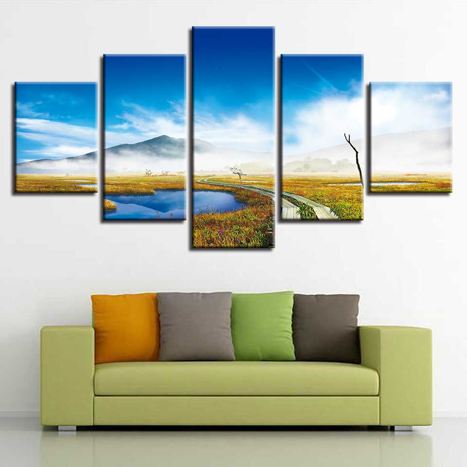 Canvas HD Print Painting Modular Decor Posters Blue Sky White Cloud Mountain And Trail Natural Scenery Picture Wall Art
