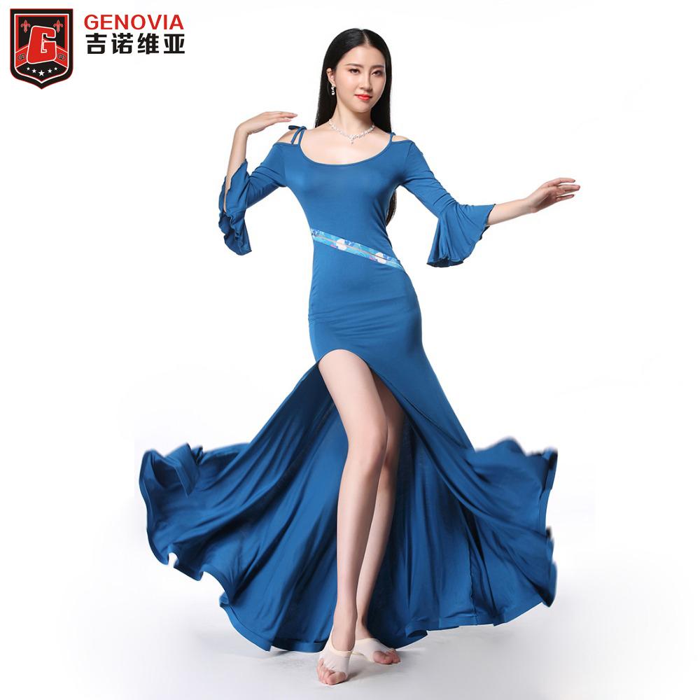 2019 New Women Chiffon Belly Dance Costumes Sets 2Pics Top/&Long Skirt M L