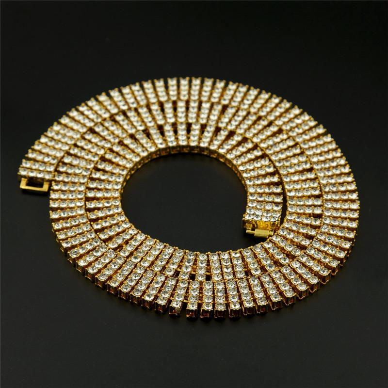 Fashion Luxury Men Hip Hop Necklaces 18k Gold Plated Quad Line Rhinestone Chains Brand Design Hip-Hop Jewelry Link Chain