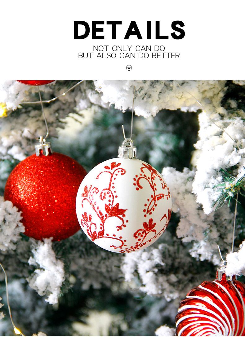 07 inhoo 2018 New Christmas Tree Decoration 7cm Ball Ornaments Pendant Accessories Red white Ball Decor For Christmas Home Party
