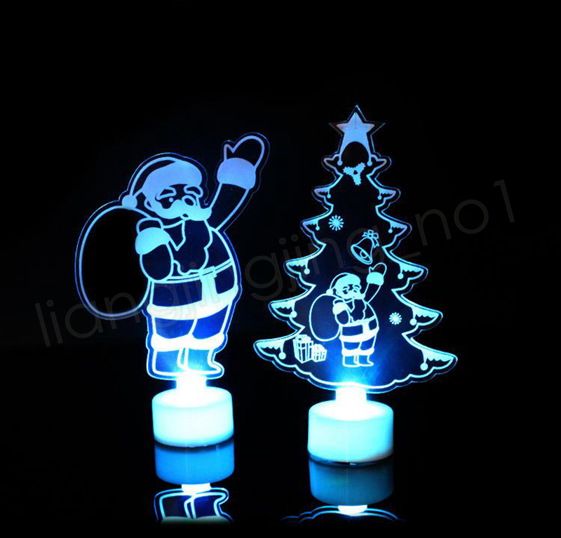 Xmas LED Night light 3D Flashing Colorful table lamp Christmas tree Santa Claus snowman tower Party Decoration GGA1132