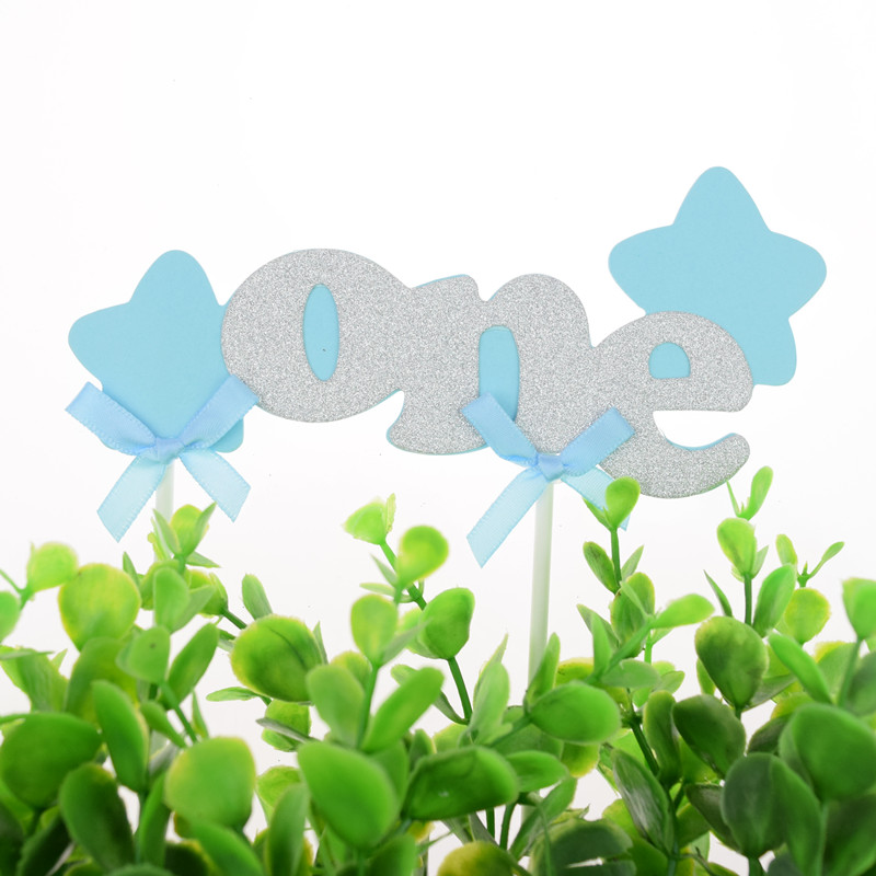 Cake Toppers Flags Happy Birthday One Year Glitter Kids Gifts Cupcake Topper Wedding Baby Shower Party DIY Baking