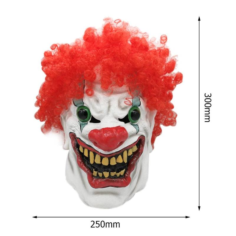 Halloween Mask Clown Dress Up Costumes Latex Clown Mask Full Cosplay Horror Adult Masquerade Party Ghost Big Mouth Red Nose