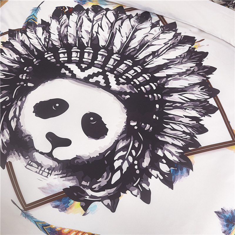 wholesale panda beddings sets queen size India animal feather duvet Cover With Pillowcases Cartoon Bed Set