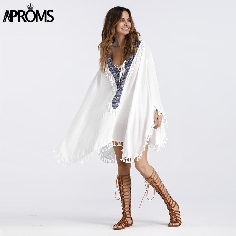 Aproms Enthnic Print Tassel Beach Plus Size Blouses Women Boho V Neck Lace up White Tunic Top Bikini Cover Kimono Shirt Blusas Y1891302