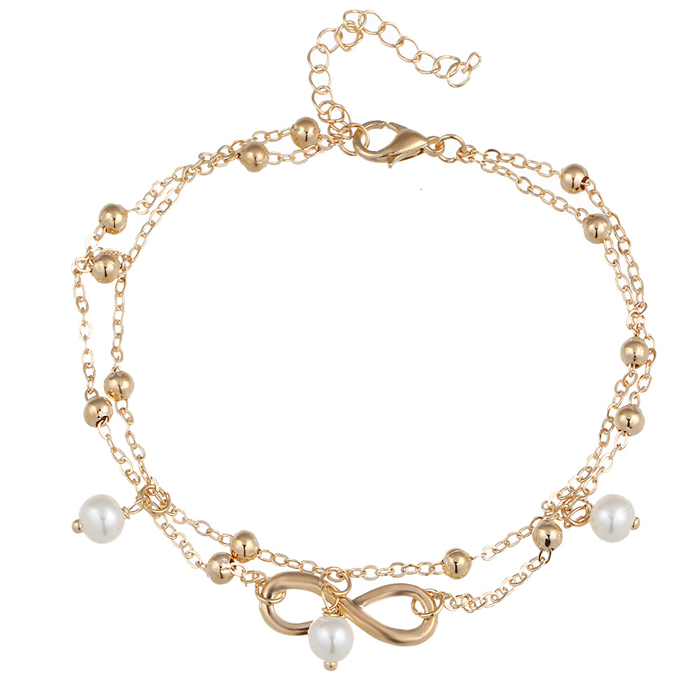 Free DHL Fashion Bohemian Pearl 8 Anklets Charm Pendant Anklet Barefoot Double Bracelet Summer Beach Foot Jewelry 23cm For Women Gift H372F