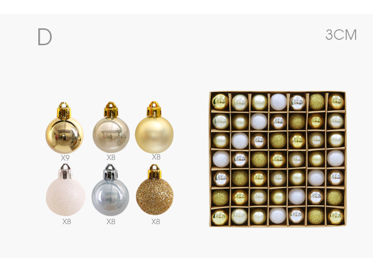 07 inhoo 49pcs Christmas Tree Ornaments Polystyrene Plastic 3cm Decor Balls Baubles Xmas Party Hanging Ball for Home Gifts 2019