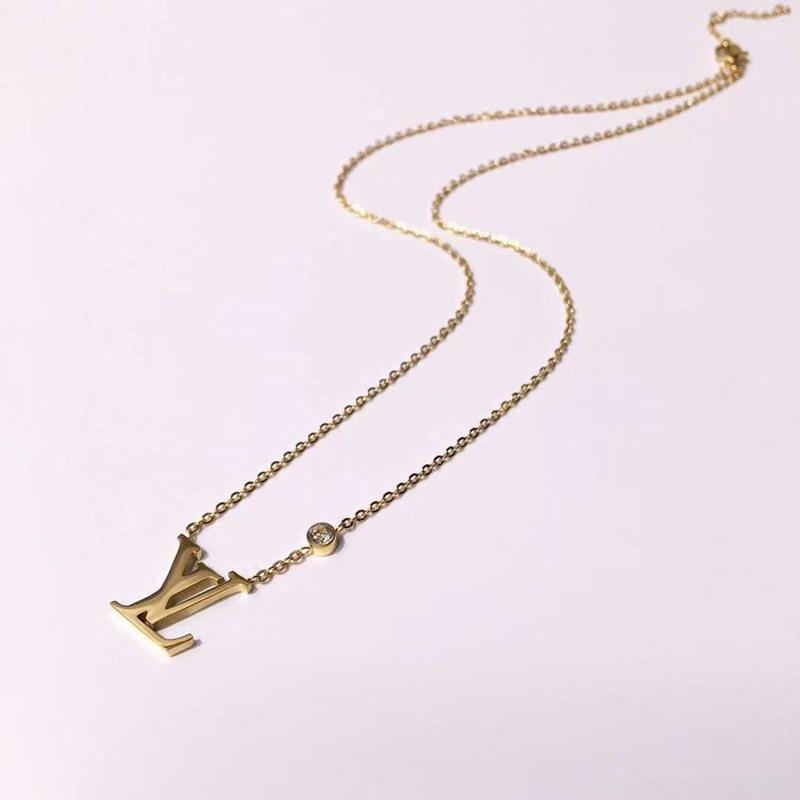 Marca de moda Diseño de la Joyería 316L de Acero de Titanio 18 K Chapado En Oro Rosa Collar de Cadena Corta Collar de Plata Colgante Para Pareja de Regalo