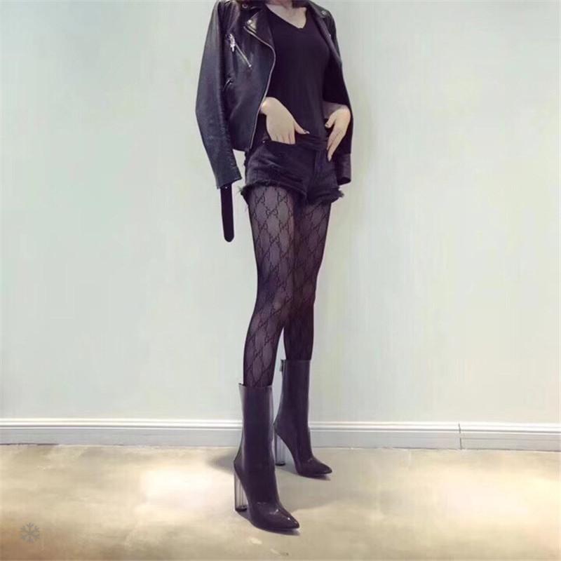Senhoras Sexy Designer de Carta Meias De Seda Marca Meias Meias das Mulheres Meias Moda Sexy Transparente Grade Meias Feminino Meias