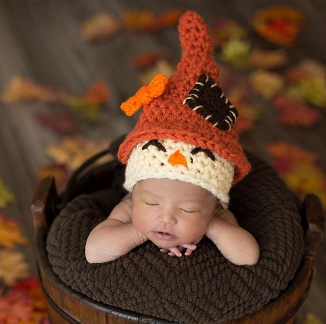 Newborn Photography Props Cute clown Children Crochet Knit Beanie Hat Baby Cap Photo Props Infant Autumn Winter Hat 0-1Yrs