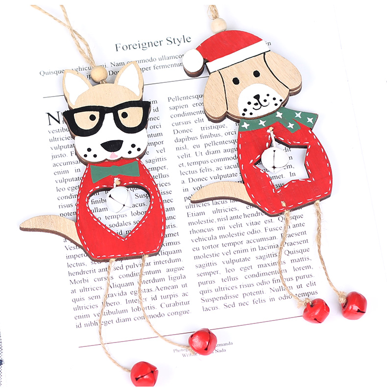10 2019 Merry Christmas Wooden dog Ornaments Room Wall Hanging Accessories For Home Table Desktop Stand Decor Santa Bells Dog Gifts