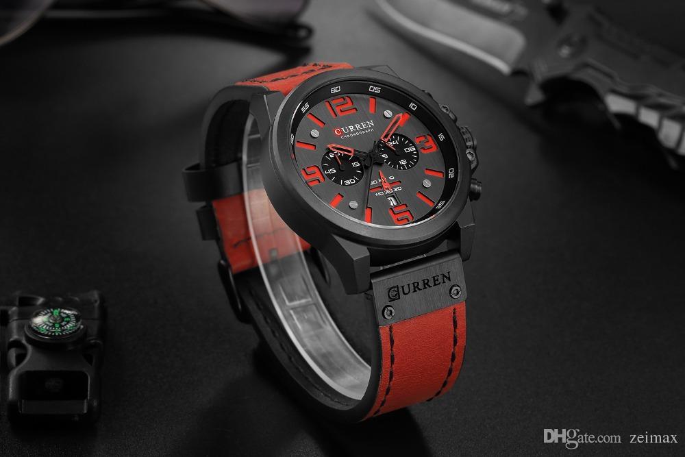 Men Military Sport Quartz Wrist Watch CURREN Casual Genuine Leather Waterproof Chronograph Watch Male Business Watch Clock Relo Reloj