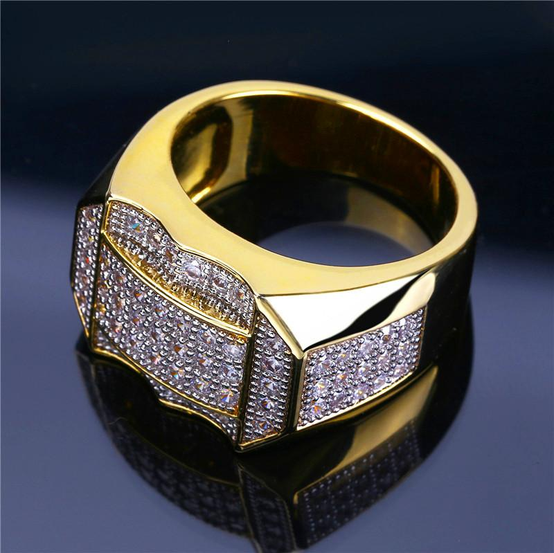 Hot Luxury Design Ice Out Gold Plated Rings For Men Fashion Bling Hiphop Jewelry Pop Hip Hop Zircon Ring Lover Gift High Quality