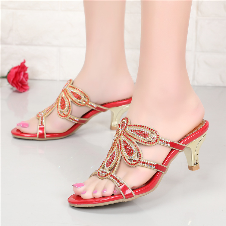 New Luxury Diamond Stiletto High Heels Slippers Online Shopping Peep Toe Womens Shoes Sale High Quality Gold Purple Black Red4