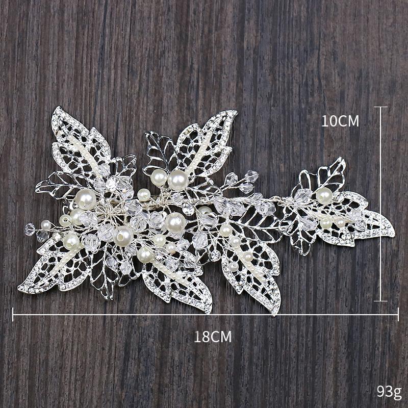 Handmade Silver Barrettes Wedding Hair Accessories Pearl Head Clip Rhinestone Hair Ornament Leaves Crystal Style Hair Decoration (5)