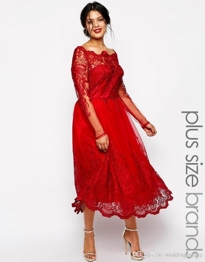 Christmas Evening Dresses Uk.New Red Lace Plus Size Evening Dresses Square Neck Long Sleeve Tea Length Party Prom Dress Evening Gown For Special Occasion Best Evening Gowns Black