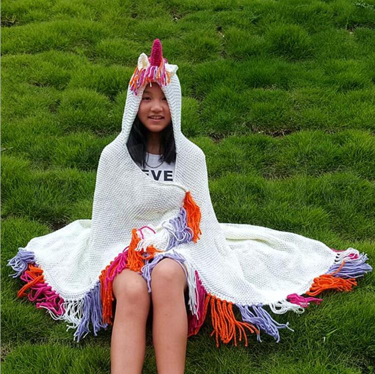 Cartoon Unicorn Knitting Tassels Capes 90*120cm Hooded Children Poncho Baby Girls Autumn Outerwear LJJO5780