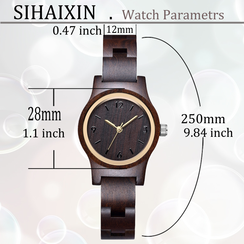 wood watch size