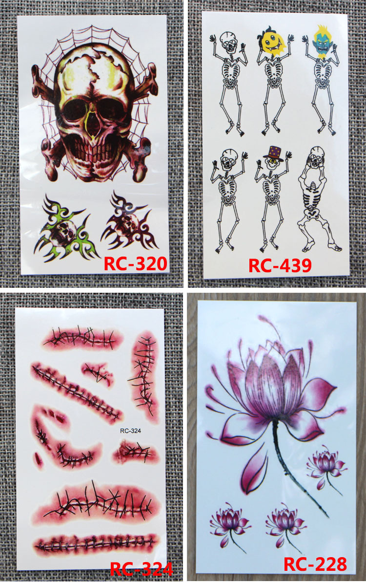 2018 HOT selling Scar tattoo paste wholesale Halloween tattoo stickers waterproof stickers non - toxic environmental protection MMA829