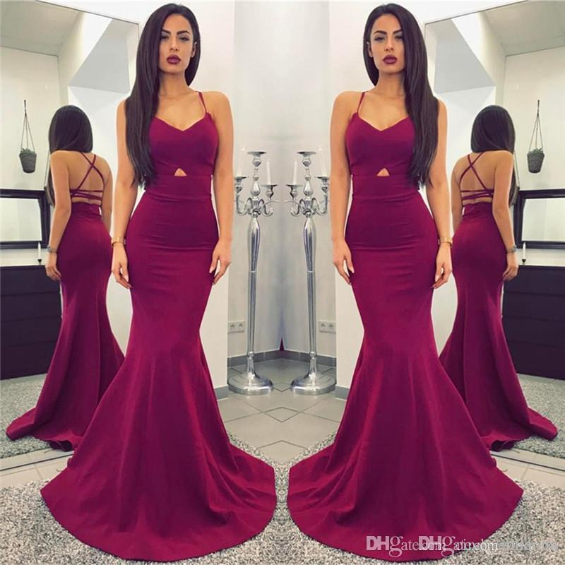 New Designer Cheap Simple Plum 2018 Long Mermaid Prom Dresses Sexy Spaghetti Straps Backless Floor Length PROM DRESSES vestidos de fiesta