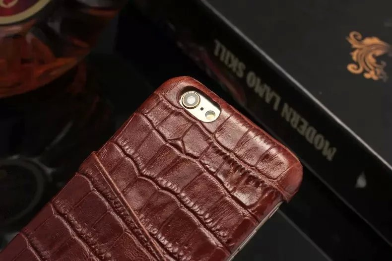 brown color real leather case for iPhone 6 6S Plus detail