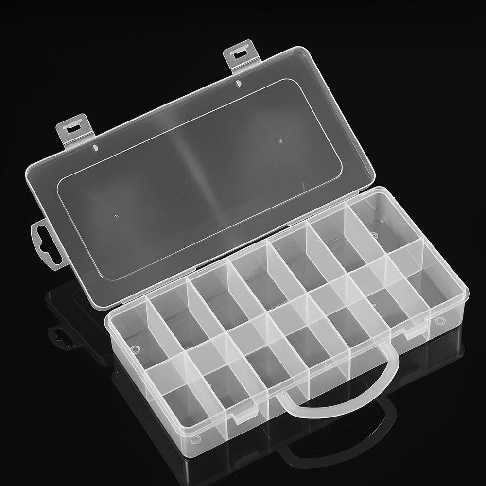 Transparente 24 Compartimentos Ranuras Celdas Caja de herramientas port/átil Piezas electr/ónicas Tornillo Perlas Anillo Joyer/ía Caja de almacenamiento de pl/ástico Contenedor de contenedores