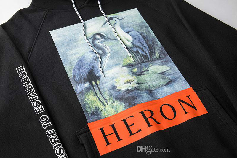 Crane Print Sweatshirts Men Women Hip Hop Heron Preston Hoodies Pullovers Streetwear Black Heron Preston Sweatshirts 2018