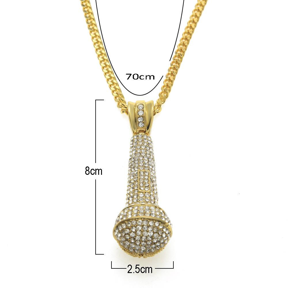 Hot Fashion Design Microphone Pendant Necklaces Luxury Full Diamond Mic Necklace New Style Hip Hop Necklaces KTV Gift