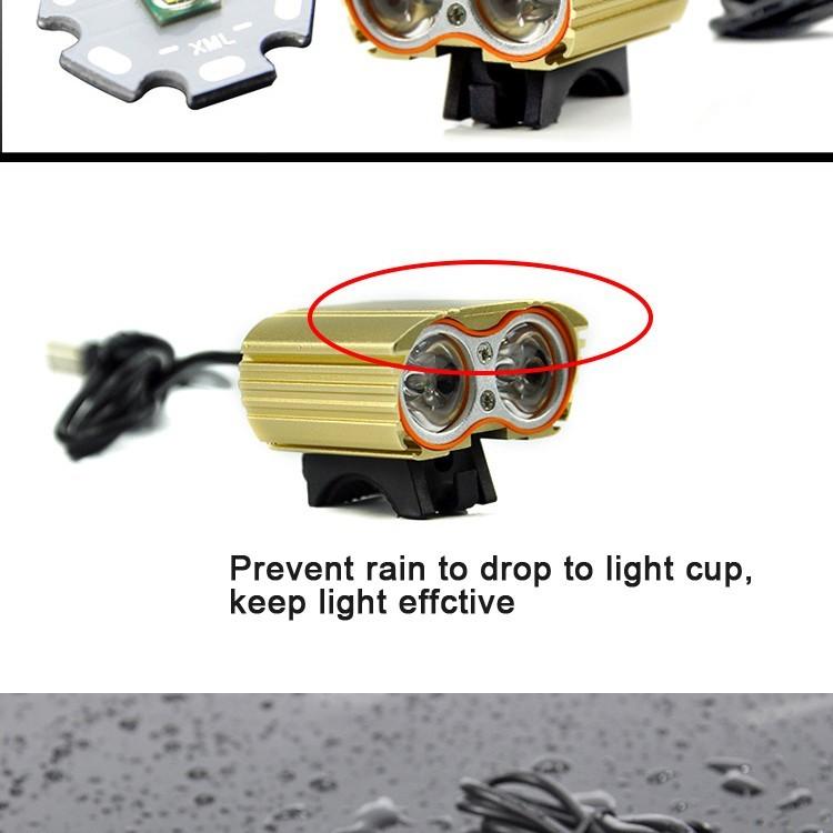 2000 Lumen Double T6 Bike Bicycle Cycling LED Light Flashlight High Brightness Lamp Front Light (4)