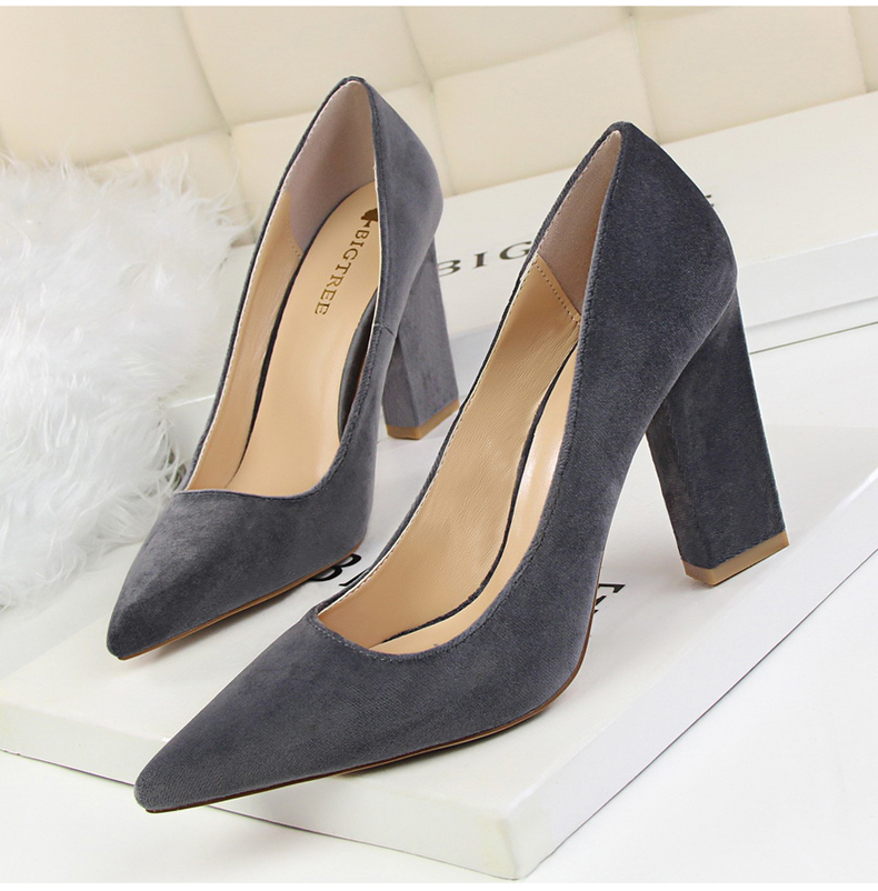 Women\`s Pumps Shoe Slip-On Wedding Women Shoes High Heels Sandals Silver Office Lady Shoes Woman High Heel Mules Square Heels (5)