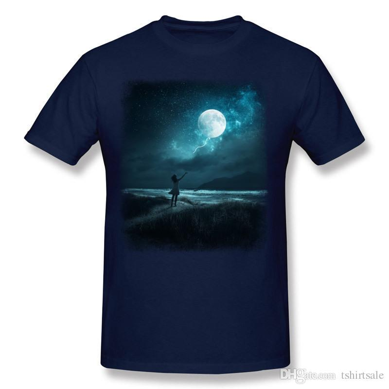 Wholesale Men's 100 Cotton MOON BALLOON Tee-Shirt Men's Crew Neck Black Short Sleeve Shirts Blouse Big Size Street Tee-Shirt
