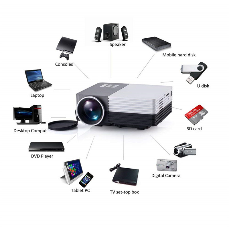 GM50 Portable Mini LED 3D Projektor 150 Lumen LCD Projektor Unterstützung Micro USB HDMI VGA AV USB Max 1080 P für Video Proyector TV Beamer
