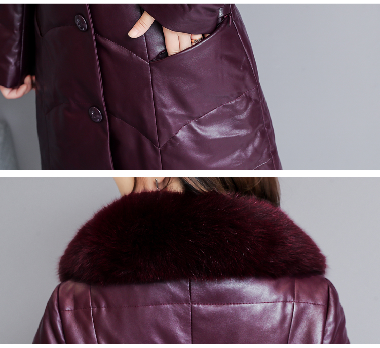 7253 Genuine Leather Jacket Women 2018 Winter Warm Down Faux Fur Coat Plus Size Long with Fox Fur Collar Elegant Luxury Coat Women 13
