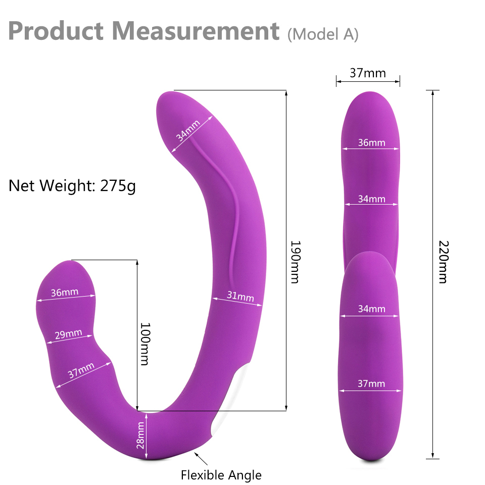 ORGART Strapless Strapon Dildo Vibrators Erotic Remote Control Strap-on Lesbian Double Ended Big Dildo Adult Sex Toys for Woman D18110101